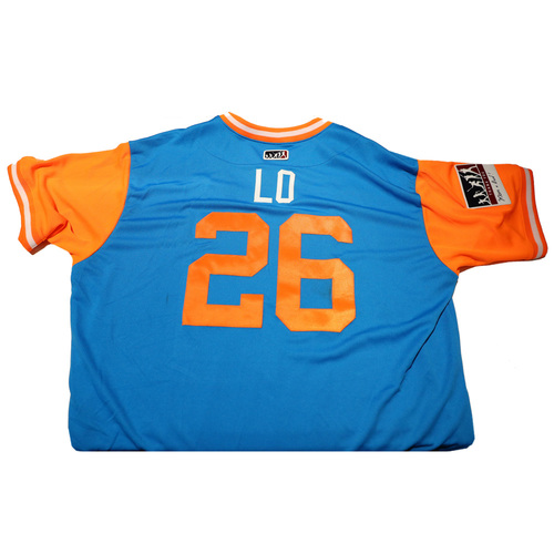 "Photo of Lorenzo ""Lo"" Bundy Miami Marlins 2017 Game-Used Players Weekend Jersey"