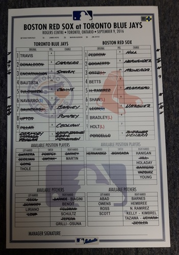Photo of Authenticated Game Used Line-Up Card - September 9, 2016 vs Boston Red Sox. Rick Porcello became the 1st Pitcher to 20 Wins in the Season.