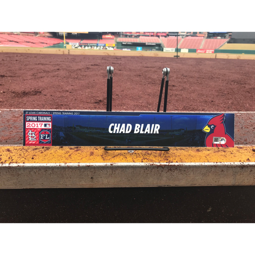Photo of Cardinals Authentics: Chad Blair Team-Issued Spring Training Locker Tag
