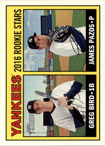 Photo of 2016 Topps Heritage #171 James Pazos RC/Greg Bird Rookie Cards