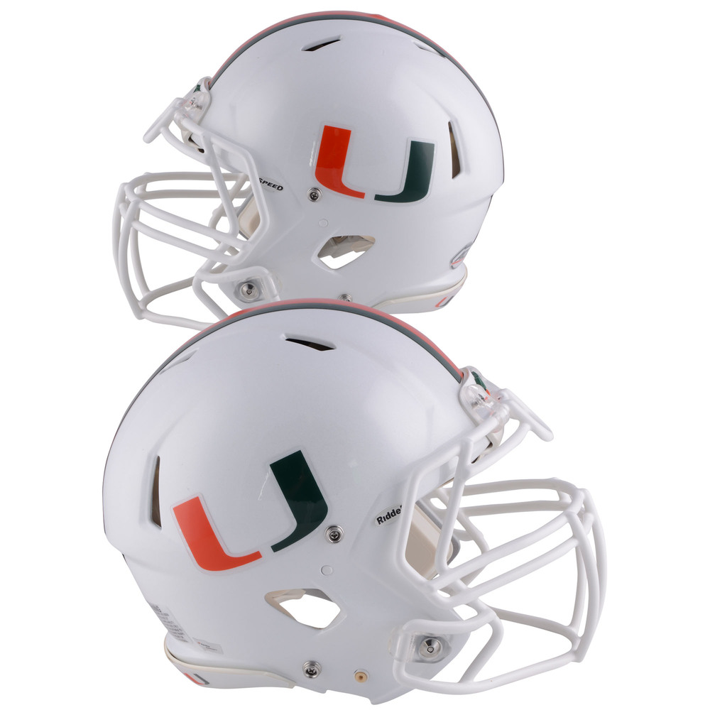 Miami Hurricanes Team-Worn White Speed U Helmet Worn Between the 2013 and 2017 Football Seasons - Size M