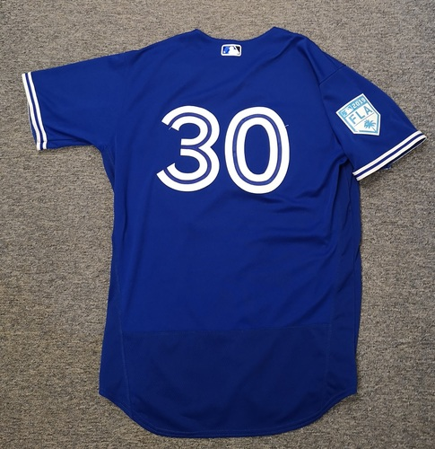 Photo of Authenticated Game Used 2019 Spring Training Jersey - #30 Anthony Alford (Mar 17: 0-for-2 with 1 Walk and 1 Run). Size 46