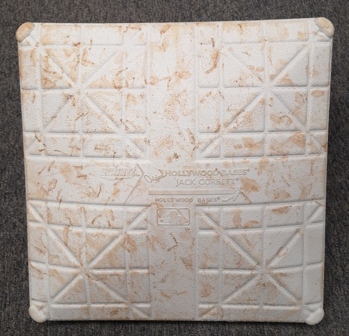 Photo of Authenticated Game Used Base - Spring Training in Montreal (March 25 and 26, 19) vs Milwaukee Brewers. 2nd Base for Innings 6 to 9.