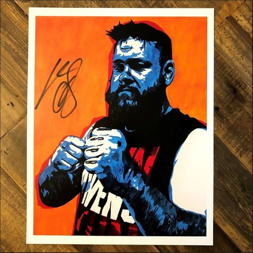 Kevin Owens SIGNED 11 x 14 Rob Schamberger Print (Fight)