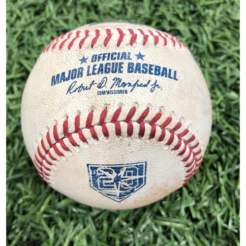 Photo of 20th Anniversary Game Used Baseball: Jake Bauers walk, Tommy Pham lineout & Michael Perez single off Nick Tropeano - August 1, 2018 v LAA