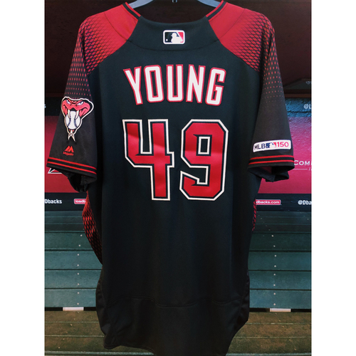 Photo of Alex Young 2019 Team-Issued Black Alternate Jersey, Size 48