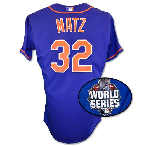 Photo of Steven Matz #32 - Game Used Blue Alt. Home World Series Jersey - Mets vs. Royals - Game 5 - 11/1/15