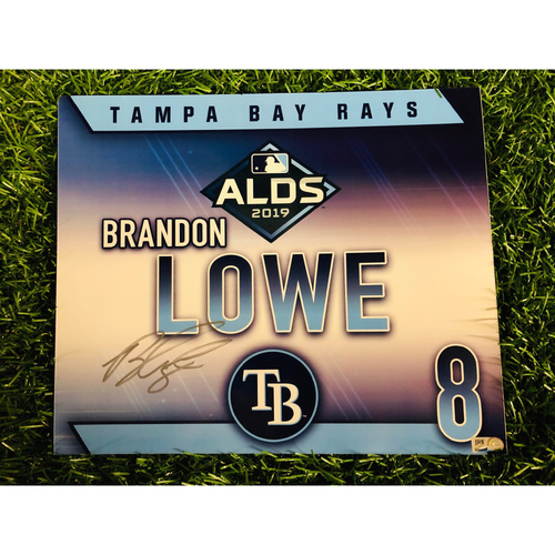 Game Used ALDS Autographed Locker Tag: Brandon Lowe - October 7, 2019 v HOU