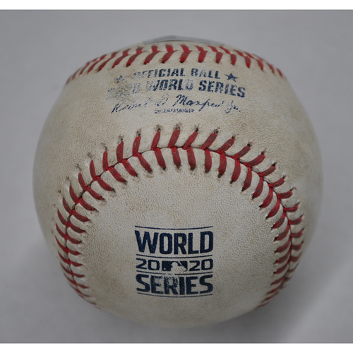 Photo of Game-Used Baseball - 2020 World Series - Tampa Bay Rays vs. Los Angeles Dodgers - Game 6 - Pitcher: Blake Snell, Batter: Chris Taylor (Single) - Bot 3