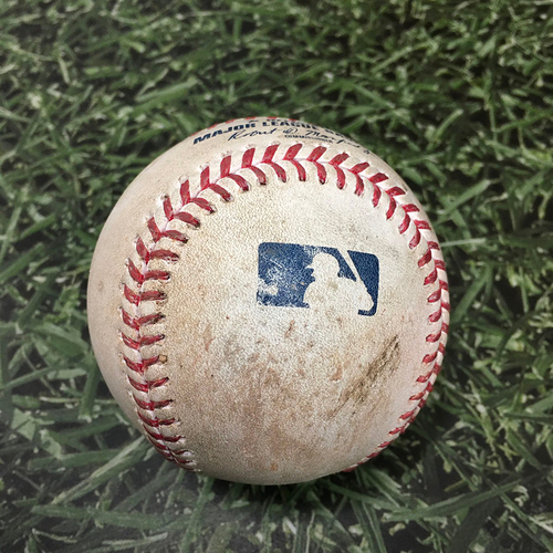 Photo of Game-Used Baseball ATL@MIL 10/08/21 (NLDS Game 1) - Tyler Matzek - Willy Adames: Single (First Postseason Hit with Brewers)