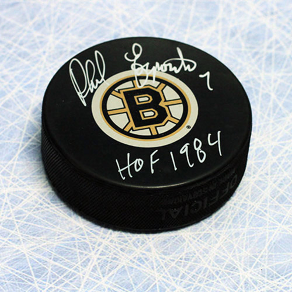 Phil Esposito Boston Bruins Autographed Hockey Puck w/ HOF Note