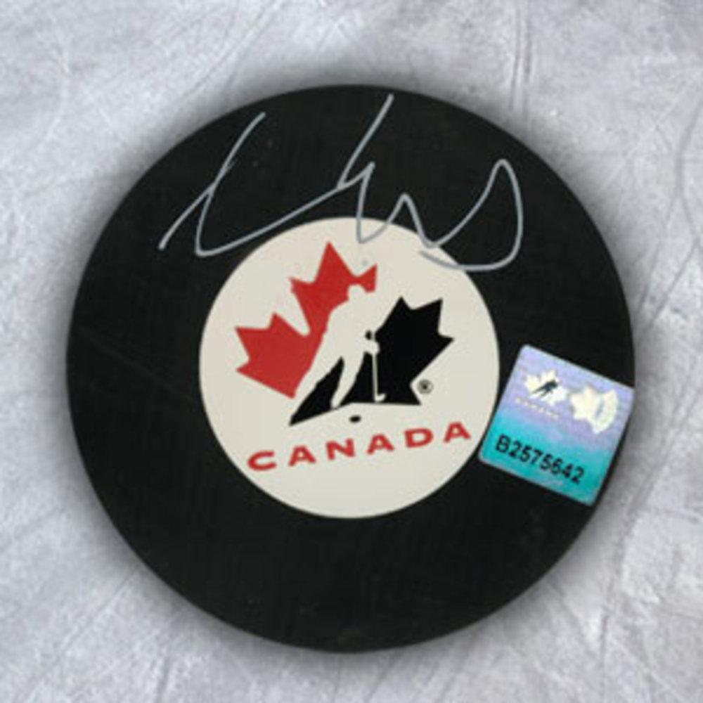 AARON EKBLAD Team Canada Autographed Hockey Puck