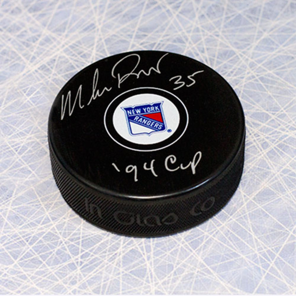 Mike Richter New York Rangers Autographed Hockey Puck with 94 Cup Note