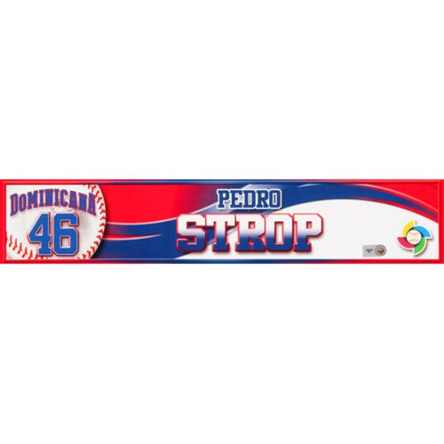 Photo of 2013 WBC: Dominican Republic Game-Used Locker Name Plate - #46 Pedro Strop