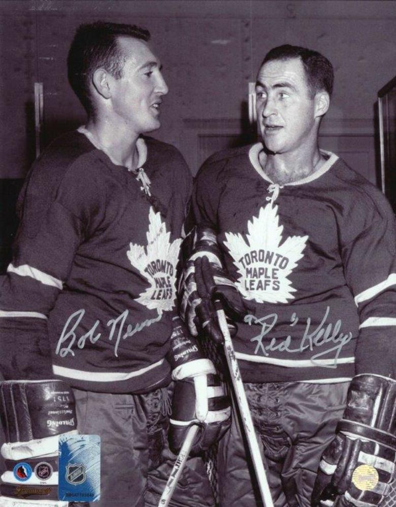 Bob Nevin  & Red Kelly - Dual-Signed 8x10 Unframed Maple Leafs-V
