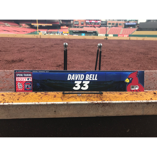 Photo of Cardinals Authentics: David Bell Team-Issued Spring Training Locker Tag