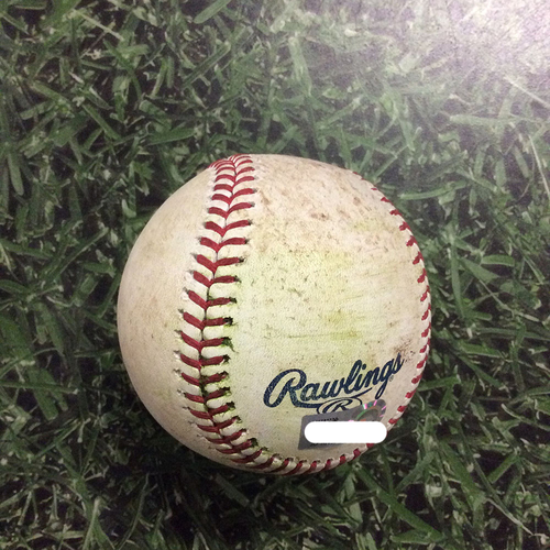 Photo of Game-Used Baseball CLE@MIL  05/08/18 - Corey Kluber - Christian Yelich: Single