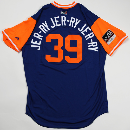 """Photo of Jerry """"JER-RY JER-RY JER-RY"""" Blevins New York Mets Game-Used Jersey 2018 Players' Weekend Jersey"""