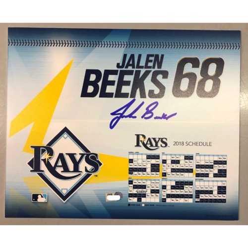 Photo of Game-Used Autographed Locker Tag: Jalen Beeks - First MLB Season
