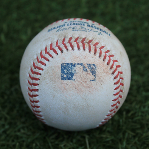 Photo of Game-Used Baseball: Tim Mayza Pitched Strikeout to Ryan O'Hearn