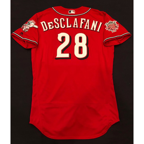 "Photo of Anthony DeSclafani -- Team-Issued ""Los Rojos"" Jersey -- D-backs vs. Reds on 9/6/19 -- Jersey Size 46"