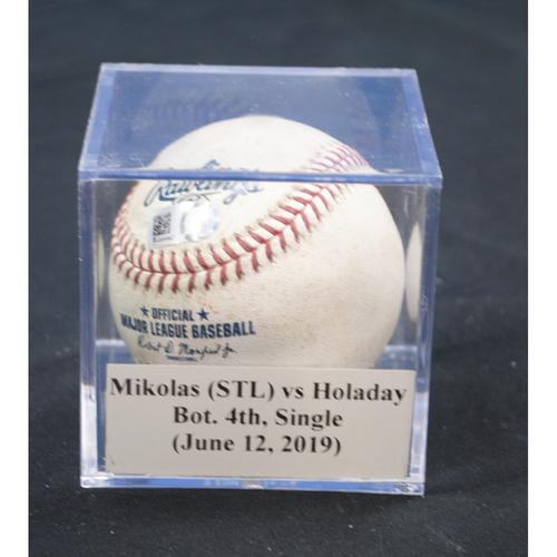 Photo of Game-Used Baseball: Miles Mikolas (STL) vs Bryan Holaday, Bot. 4th, Single (June 12, 2019)