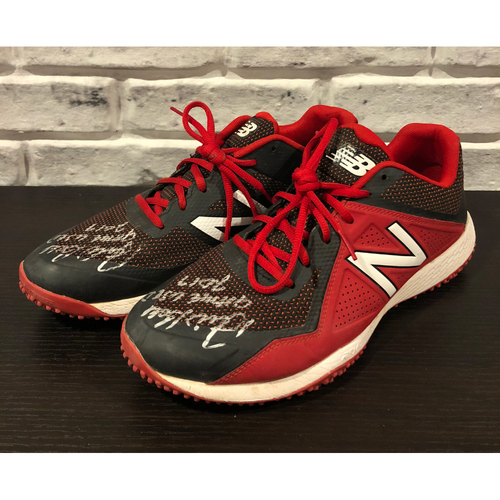 "Photo of David Bell -- *Autographed* Pair of Turfs from First Season as Reds Manager -- Inscribed as ""Game Used 2019"" -- Size: 10.5"
