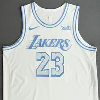 LeBron James - Los Angeles Lakers - Christmas Day' 20 - Game-Worn City Edition Jersey - Double-Double - 2nd in NBA History in Christmas Day Points Scored and Games Played