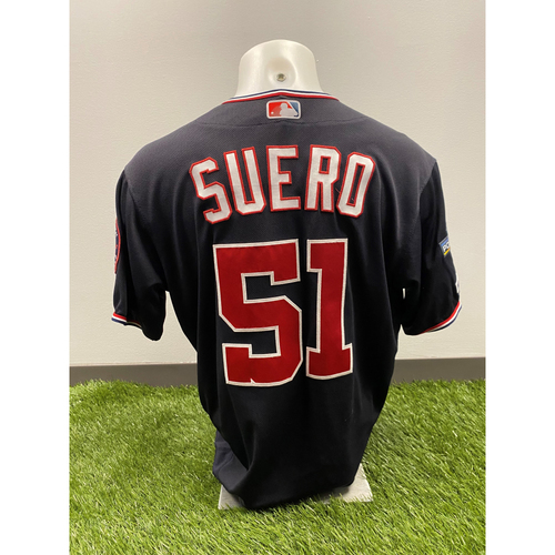 Photo of Game-Used Wander Suero 2019 Navy Script Jersey with Postseason Patch - 10/4/2019 NLDS Game 2 vs. LAD, 9/3/2019 vs. NYM
