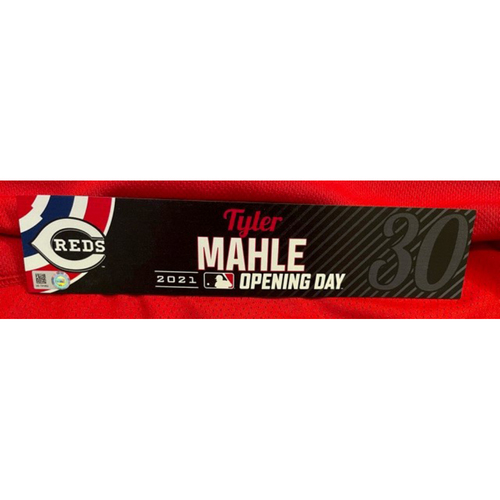 Photo of Tyler Mahle -- 2021 Opening Day Locker Tag -- Game-Used -- Cardinals vs. Reds on 4/1/21