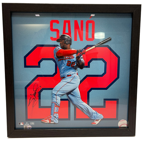 "Photo of Minnesota Twins Miguel Sano Autographed 13""x13"" Uniframe"