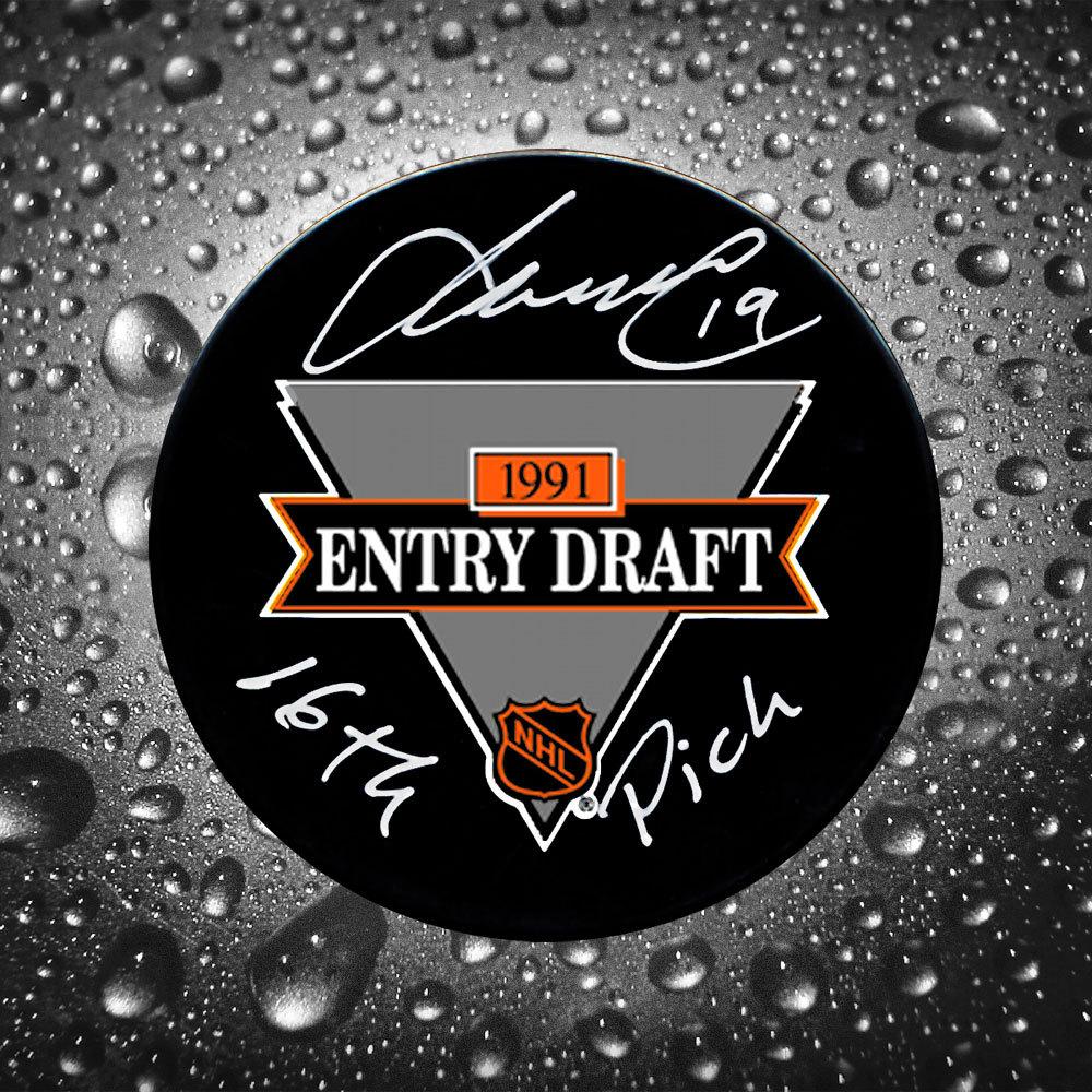 Markus Naslund 16th Pick 1991 NHL Draft Day Autographed Puck