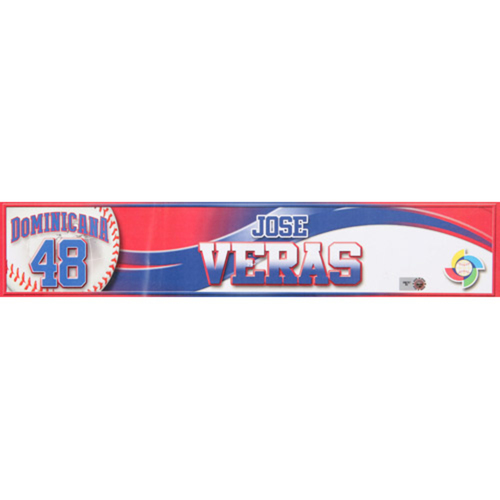 Photo of 2013 WBC: Dominican Republic Game-Used Locker Name Plate - #48 Jose Veras