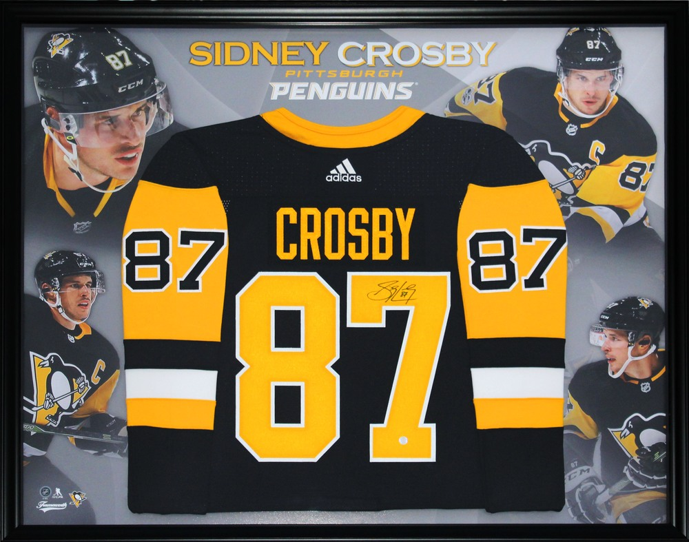 Sidney Crosby - Signed Framed Jersey Penguins Pro Black 2017-2018 with Photo Collage Background