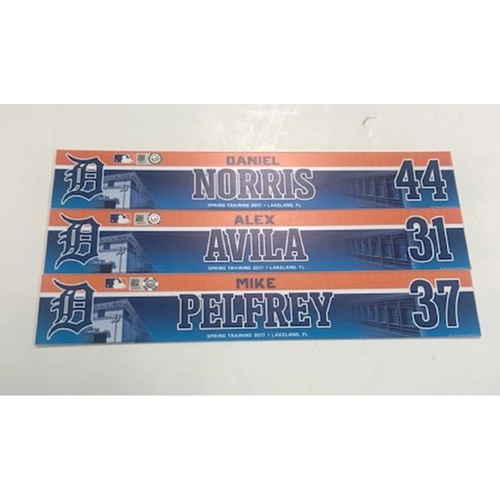 Photo of Team-Issued 2017 Spring Training Locker Name Plates: Alex Avila, Daniel Norris and Mike Pelfrey