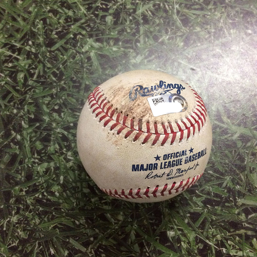 Photo of Game-Used Baseball CLE@MIL  05/08/18 - Brent Suter - Edwin Encarnacion: Single