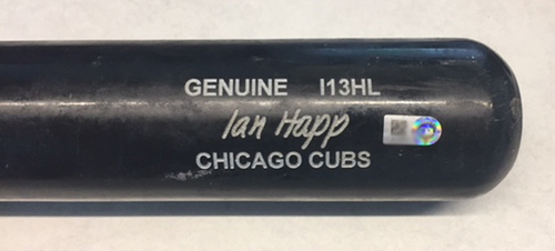 Photo of Ian Happ Game-Used Bat -- Raisel Iglesias to Ian Happ, Single, Bot 9 -- Reds vs. Cubs -- 7/6/18