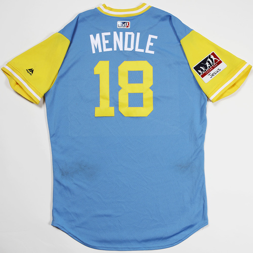 "Photo of Joey ""Mendle"" Wendle Tampa Bay Rays Game-Used 2018 Players' Weekend Jersey"