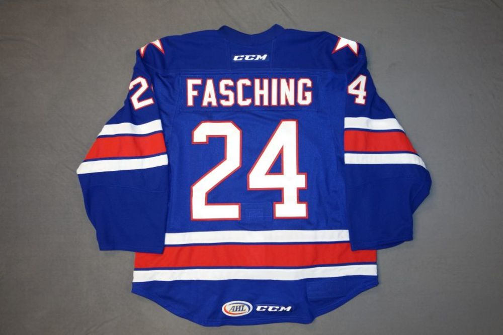 Hudson Fasching Game-Worn Rochester Americans Blue Jersey