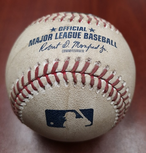 Photo of Authenticated Game Used Baseball - Foul Ball by Vladimir Guerrero Jr. against Evan Marshall (May 10, 19 vs CWS). Bottom 7. 11th Career Game for Guerrero Jr.