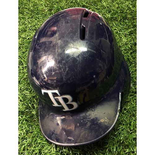 Photo of 2019 Game Used Helmet (size 7 3/4): Travis d'Arnaud (4) HOME RUNS - July 6 (v NYY), July 23 (v BOS), August 31 (v CLE) & September 3 (v BAL)
