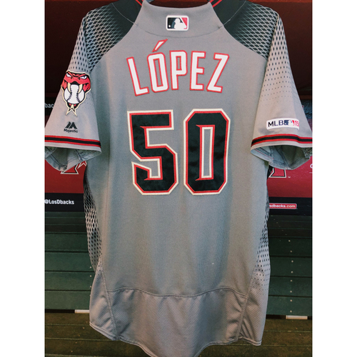 Photo of Yoan Lopez Game-Used Road Gray Jersey-- 8/26/19 vs. Giants (D-backs win 6-4)