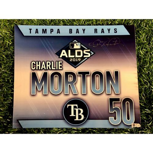 Photo of Game Used ALDS Autographed Locker Tag: Charlie Morton - October 7, 2019 v HOU