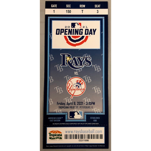 Photo of Rays Baseball Foundation: 2021 Commemorative Opening Day Ticket
