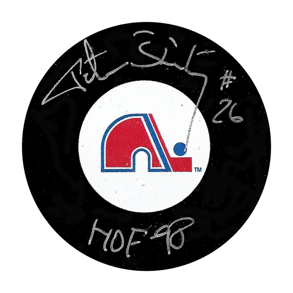 Peter Stastny Autographed Quebec Nordiques Puck w/HOF 98 Inscription