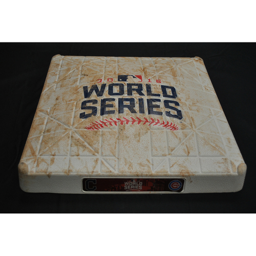 Photo of Game-Used Base - 2016 World Series Game 6 - Chicago Cubs vs. Cleveland Indians - 1st Base Innings 3-4