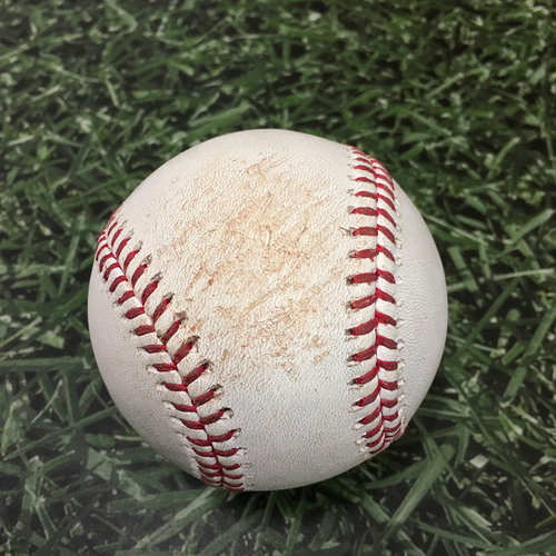 Photo of Game-Used Baseball ATL@MIL 10/08/21 (NLDS Game 1) - Josh Hader - Ozzie Albies (Strikeout) & Austin Riley (Single)