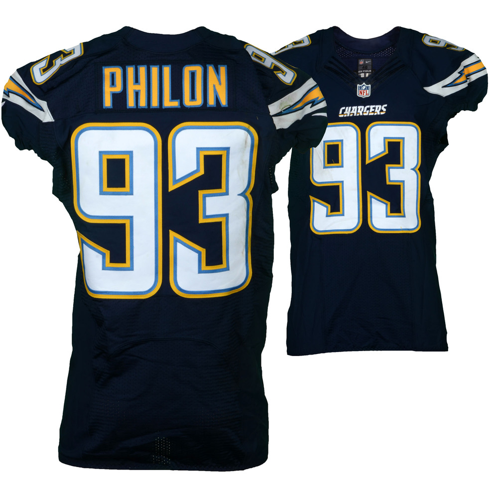 Darius Philon San Diego Chargers Game-Used #93 Blue Jersey vs. Kansas City Chiefs on January 1, 2017