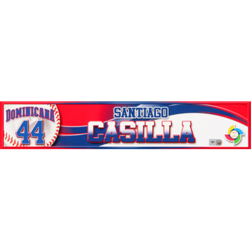 Photo of 2013 WBC: Dominican Republic Game-Used Locker Name Plate - #44 Santiago Casilla