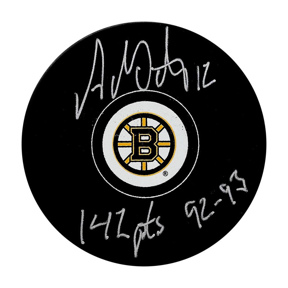 Adam Oates Autographed Boston Bruins Puck w/142 PTS 92-93 Inscription